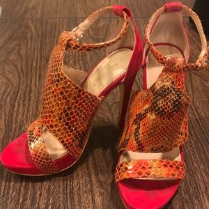 Bebe red suede and snake skin open toe pumps